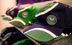 Caps for sale in the Wimbledon shop within the grounds on day six of the Wimbledon Championships at The All England Lawn Tennis and Croquet Club, Wimbledon.