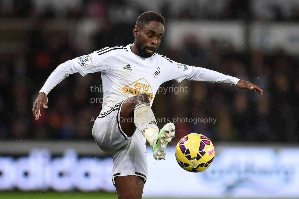 Nathan Dyer of Swansea city in action.Barclays Premier league match, Swansea city v Aston Villa at the Liberty stadium in Swansea, South Wales on Boxing Day, Friday 26th December 2014<br /> pic by Andrew Orchard, Andrew Orchard sports photography.
