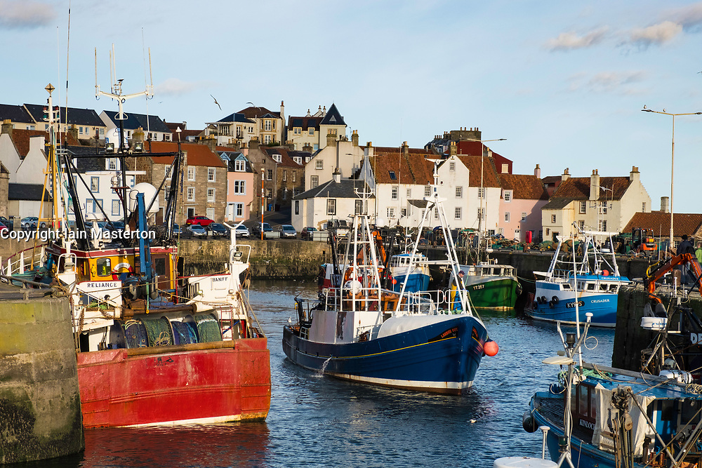 View of fishing harbour at Pittenweem on East Neuk of Fife in Scotland, United Kingdom.