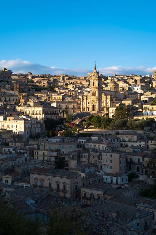 Ancient hill city of Modica Alta and Cathedral of San Giorgio famous for Baroque architecture from Modica Bassa, Sicily