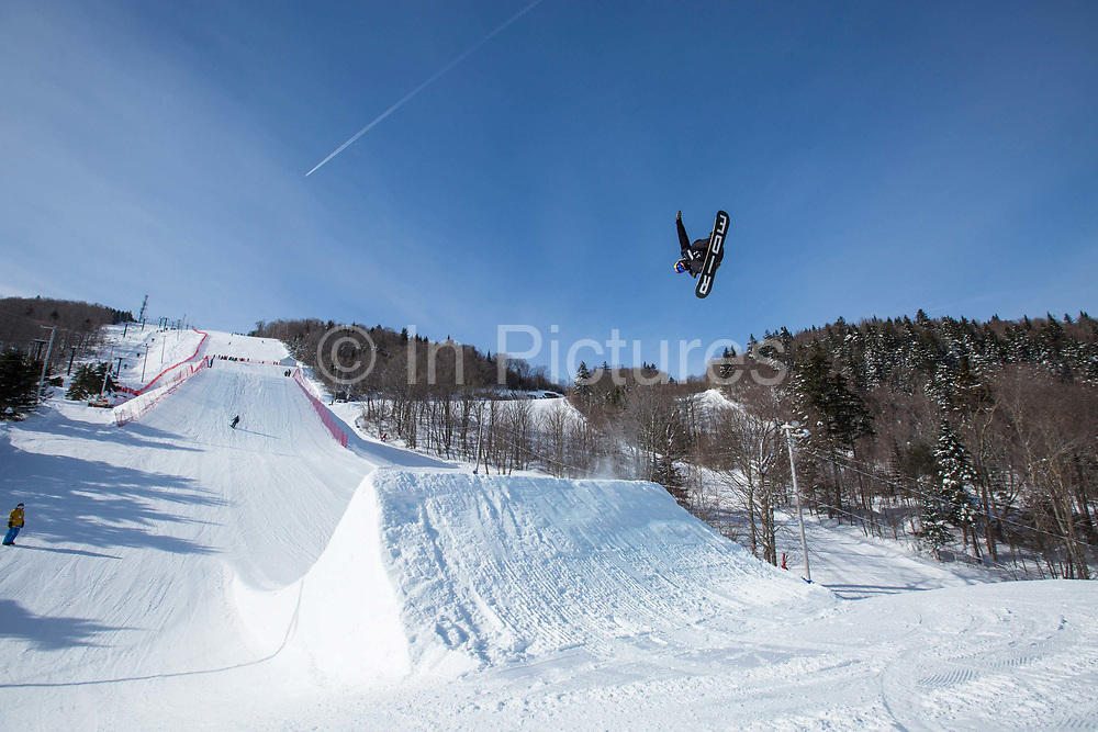 Billy Morgan during the FIS Jamboree snowboard Slopestyle practice on 07th February 2017 in Stoneham Mountain, Canada. The Canadian Jamboree is part of the ski and snowboard FIS World Cup circuit held in Quebec City and Stoneham Mountain.