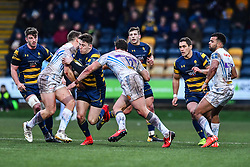 Josh Adams of Worcester Warriors is tackled by Pete Laverick of Exeter Chiefs - Mandatory by-line: Craig Thomas/JMP - 27/01/2018 - RUGBY - Sixways Stadium - Worcester, England - Worcester Warriors v Exeter Chiefs - Anglo Welsh Cup