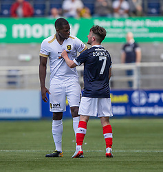 Livingston Marvin Bartley and Falkirk's Aidan Connolly argue too. Falkirk 1 v 1 Livingston, Livingston win 4-3 on penalties. BetFred Cup game played 13/7/2019 at The Falkirk Stadium.