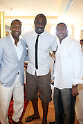 24 June 2010- Miami Beach, Florida- l to r:  Jeff Friday, Idris Elba and Michael Baisden at the The 2010 American Black Film Festival Founder's Brunch held at Emeril's on June 24, 2010. Photo Credit: Terrence Jennings/Sipa