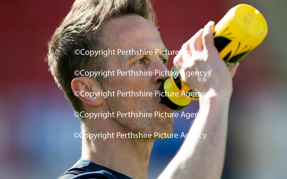 St Johnstone Training…10.05.18<br />Chris Millar pictured during training before playing his final game for St Johnstone against Ross County<br />Picture by Graeme Hart.<br />Copyright Perthshire Picture Agency<br />Tel: 01738 623350  Mobile: 07990 594431