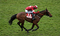 Tiger Roll ridden by Jockey Keith Donoghue goes on to win the Glenfarclas Chase during Ladies Day of the 2018 Cheltenham Festival at Cheltenham Racecourse.
