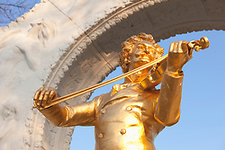 Detail statue golden Strauss playing violin Vienna
