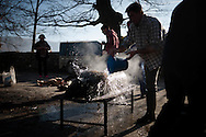 A man throws water to a dead pig before the skin is scraped in traditional way pig slaughtering. Legasa (Basque Country). January 7, 2017. The slaughter traditionally takes place in the autumn and early winter and the work often is done in the open. (Gari Garaialde / Bostok Photo)