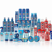 A large range of Vo5 grooming products photographed in the Hype photography studio by photographer Stuart Freeman.