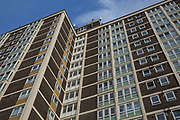 Blue autumn skies over a high rise building on Northumberland Park estate on 30th October 2017 on 30th October 2017 in North London, England.