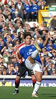 Photo: Paul Greenwood.<br />Everton v Sheffield United. The Barclays Premiership. 21/10/2006. Everton's Mikel Arteta clears overhead.