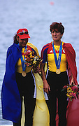 Sydney, AUSTRALIA, ROM W2- Gold medallist  DAMIAN Georgeta, IGNAT, Doina, on the medal podium, at the 2000 Olympic Regatta, Penrith Lakes. [Photo Peter Spurrier/Intersport Images] 2000 Olympic Regatta Sydney International Regatta Centre (SIRC) 2000 Olympic Rowing Regatta00085138.tif