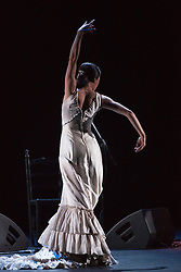 "© Licensed to London News Pictures. 28/02/2016. London, UK. Ana Morales dancing. Esperanza Fernandez ""De lo Jondo y Verdadero"" performance at Sadler's Wells Theatre during the Flamenco Festival London 2016. With Singer Esperanza Fernandez, Dancer Ana Morales, Singer Marina Heredia and Guitarist Miguel Angel Cortes. Photo credit: Bettina Strenske/LNP"