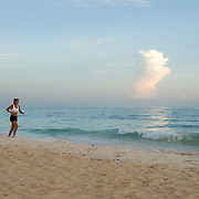 Woman Running on the Beach in Punta Cana