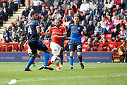 Charlton Athletic midfielder Ricky Holmes (11) scores a goal (score 3-0) during the EFL Sky Bet League 1 match between Charlton Athletic and Swindon Town at The Valley, London, England on 30 April 2017. Photo by Andy Walter.