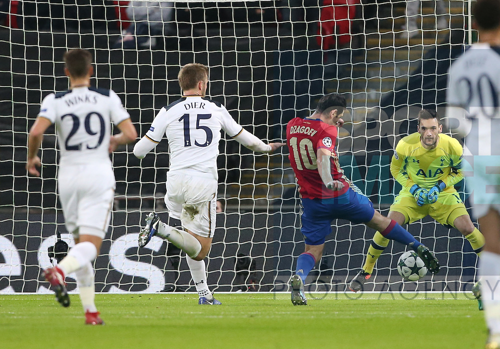 CSKA Moscow's Alan Dzagoev scoring his sides opening goal during the Champions League group match at Wembley Stadium, London. Picture date December 7th, 2016 Pic David Klein/Sportimage