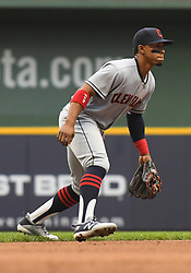 May 8, 2018 - Milwaukee, WI, U.S. - MILWAUKEE, WI - MAY 08: Cleveland Indians Shortstop Francisco Lindor (12) tracks a ground ball during a MLB game between the Milwaukee Brewers and Cleveland Indians on May 8, 2018 at Miller Park in Milwaukee, WI. The Brewers defeated the Indians 3-2.(Photo by Nick Wosika/Icon Sportswire) (Credit Image: © Nick Wosika/Icon SMI via ZUMA Press)