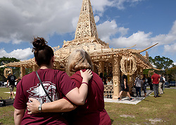 MSD staff (left) Alexandria Briganty and Connie Forti look at The Temple of Time in Coral Springs, Fla. on Thursday, February 14, 2019. Photo by Taimy Alvarez/Sun Sentinel/TNS/ABACAPRESS.COM