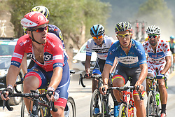 September 12, 2017 - Yunzhu, China - The future winner, Liam Bertazzo (Center Right - in Blue Jersey) controles the race during the second stage Jinzhong A to B race of the 2017 Tour of China 1, the 197km from Dazhai to Yunzhu.  .On Tuesday, 12 September 2017, in Yunzhu, Xiyang County, Shanxi Province, China. (Credit Image: © Artur Widak/NurPhoto via ZUMA Press)
