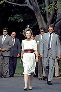 First Lady Nancy Reagan walks into  the Boston Pops 100th Birthday Celebration on the South Lawn of the White House in May 1985.  This was at a time when President Reagan at recovering at Bethesda Naval Hospital ..Photo by Dennis Brack BSB 18