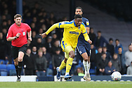 AFC Wimbledon defender Paul Kalambayi (30) dribbling during the EFL Sky Bet League 1 match between Southend United and AFC Wimbledon at Roots Hall, Southend, England on 16 March 2019.