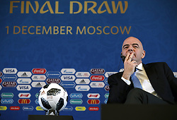 FIFA President Gianni Infantino during a press conference ahead of the FIFA 2018 World Cup draw at The Kremlin, Moscow. PRESS ASSOCIATION Photo Picture date: Friday December 1, 2017. See PA story SOCCER World Cup. Photo credit should read: Nick Potts/PA Wire. RESTICTIONS: Editorial use only. No transmission of sound or moving images. No use with any unofficial third party logos. No altering or adjusting of photographs.
