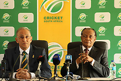 CSA Chief Executive Haroon Lorgat and Bernard Ngoepe, independent chairperson of the CSA Anti-corruption unit and former judge president of the North and South Gauteng High Courts address the media during the press conference held by Cricket South Africa to announce the outcome of an Anti Corruption investigation.  It was announced that Jean Symes, formerly of the Lions was banned for 7 years, Pumelela Matshikwe, formerly of the Lions was banned for 10 years, Ethy Mbhalati, formerly of the Titans was banned for 10 years and Thami Tsolekile, a former Proteas's wicket keeper, contracted to and captain of the Lions was banned for 12 years.  The press conference was held at PPC Newlands Cricket Stadium in Cape Town, South Africa on the 8th August 2016<br /> <br /> Photo by:   Ron Gaunt / Real Time Images