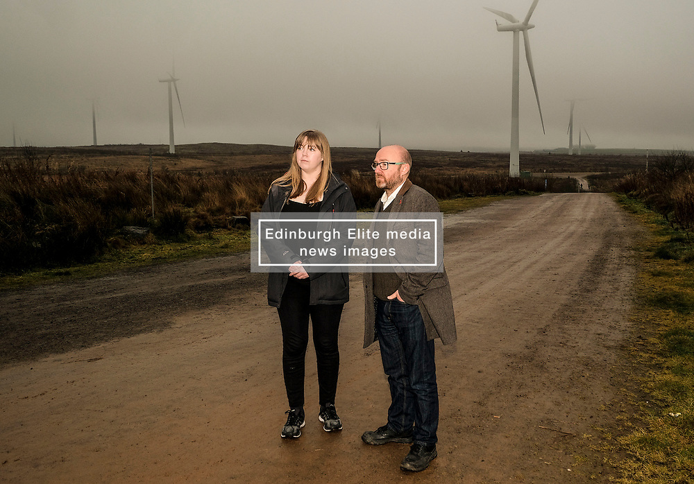 Patrick Harvie, Monday 2nd December 2019<br /> <br /> Pictured: Scottish Greens Co-Leader Patrick Harvie MSP visits the UK's largest onshore windfarm where he called for the devolution of energy policy to help Scotland tackle the climate crisis. The Scottish Greens candidate for Falkirk Gillian MacKay joins him as he looks around.<br /> <br /> Alex Todd | Edinburgh Elite media