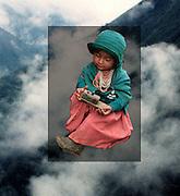 Collage. Indianflicka i Anderna i Ecuador (TIFF).