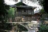Old ethnic house in a village of Ping'an area. Guangxi, China, Asia