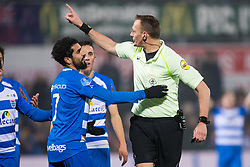 (L-R) Youness Mokhtar of PEC Zwolle, referee Ed Janssen during the Dutch Eredivisie match between PEC Zwolle and FC Utrecht at the MAC3Park stadium on December 01, 2017 in Zwolle, The Netherlands