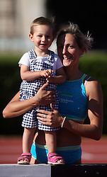Alenka Bikar with her daughter Pia at Athletic National Championship of Slovenia, on July 19, 2008, in Stadium Poljane, Maribor, Slovenia. (Photo by Vid Ponikvar / Sportal Images).
