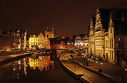 GHENT, BELGIUM - AUG-27-2004 - Cityscape of Ghent at night..(Photo © Jock Fistick)