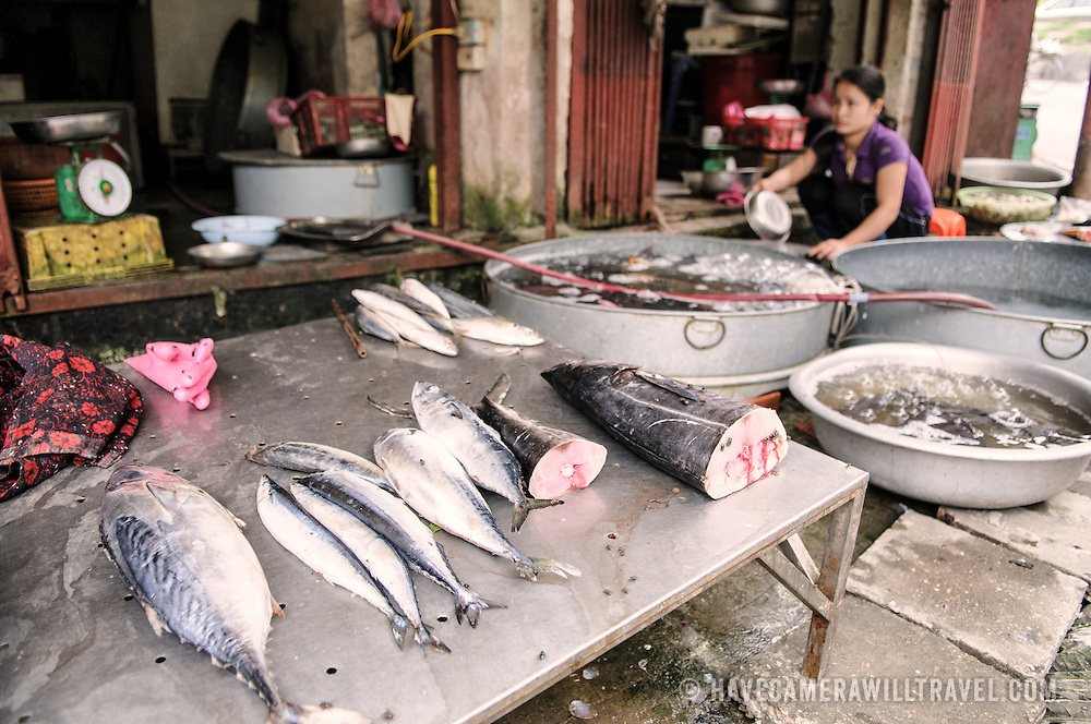 Fresh fish for sale at a morning market in Hanoi, Vietnam.