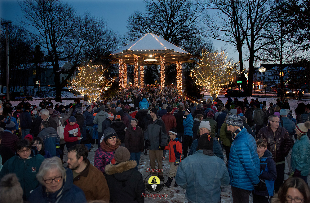 BRUNSWICK, Maine  11/24/18 -- Brunswick's tree lighting event on Saturday, Nov 24, put on by Brunswick Downton Association hosted about 1500 people at the downtown park.  Santa, Frosty and the High School chorus made the event bright.  Photo by Roger S. Duncan.