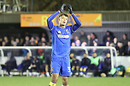 AFC Wimbledon striker Lyle Taylor (33) clapping whilst leaving the pitch during the EFL Sky Bet League 1 match between AFC Wimbledon and Blackpool at the Cherry Red Records Stadium, Kingston, England on 20 January 2018. Photo by Matthew Redman.