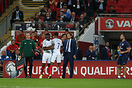 England manager Gareth Southgate looks on as Marcus Rashford of England is replaced by Danny Welbeck of England. FIFA World cup qualifying match, European group F, England v Slovakia at Wembley Stadium in London on Monday 4th September 2017.<br /> pic by Andrew Orchard, Andrew Orchard sports photography.