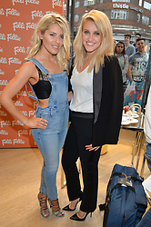 Left to right, MOLLIE KING and ASHLEY ROBERTS at the launch the Folli Follie Flagship store at 493 Oxford Street, London on 28th May 2015.