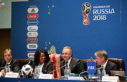 FIFA Secretary General Fatma Samoura (second left), Vitaly Mutko, president of the Russian Football Union (second right) and Alexey Sorokin CEO of the Local Organising Committee (right) attend a seminar on the eve of the final draw for the 2016 FIFA World Cup, Moscow. PRESS ASSOCIATION Photo. Picture date: Thursday November 30, 2017. Photo credit should read: Nick Potts/PA Wire RESTIRCTIONS: Editorial use only. No transmission of sound or moving images. No use with any unofficial third party logos. No altering or adjusting of photographs.
