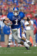 November 3, 2007 - Lawrence, KS..Running back Jake Sharp #1 of the Kansas Jayhawks rushed for 45-yards and a touchdown against the Nebraska Cornhuskers, during a NCAA football game at Memorial Stadium on November 3, 2007...FBC:  The Jayhawks defeated the Huskers 76-39.  .Photo by Peter G. Aiken/Cal Sport Media