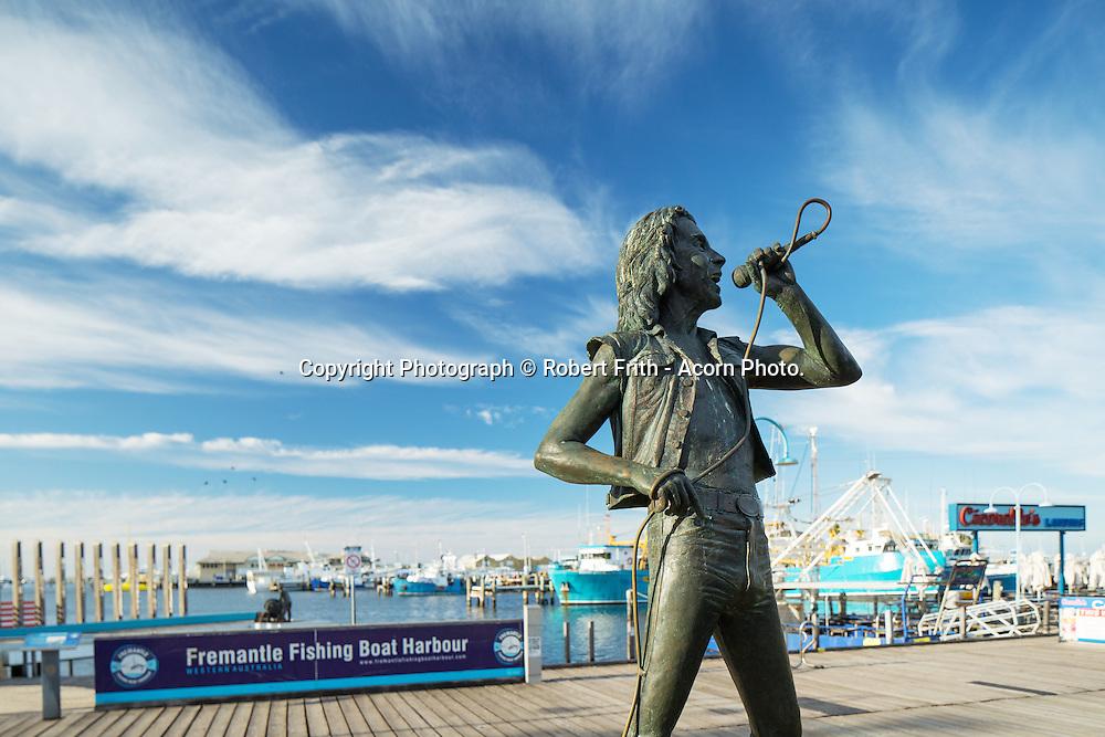Bon Scott Sculpture  <br /> Commercial fishing boats docked at Fishing Boat Harbour, Fremantle