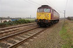 Train approaching on railway track,