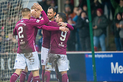 Arbroath's David Hilson (9) celebrates after scoring their second goal. half time : Arbroath 2 v 0 Queen of the South, Scottish Championship game played 15/2/2020 at Arbroath's home ground, Gayfield Park.