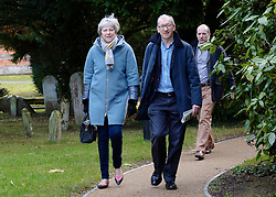 © Licensed to London News Pictures. 27/01/2019. Sonning, UK. British Prime Minister THERESA MAY attends a church service with her husband Philip near her constituency home. Photo credit: J Almasi/LNP
