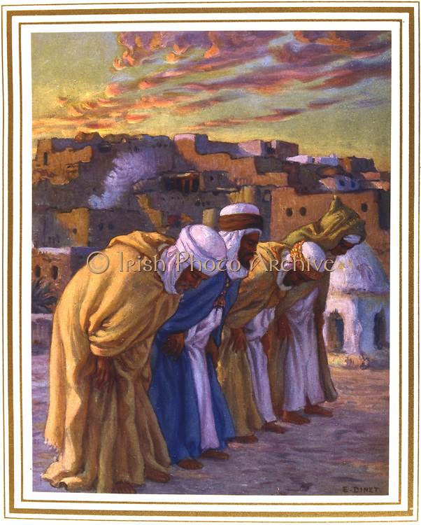 Inclination in prayer.  Illustration by E. Dinet (1861-1929) for La Vie de Mohammed, prophete d'Allah.