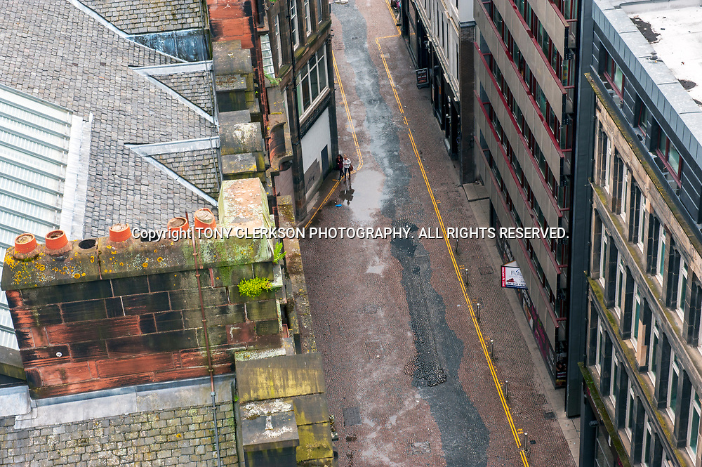 Aerial view of Mitchell Street from the Lighthouse building in Glasgow.