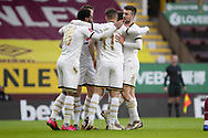 GOAL 0-1Milton Keynes Dons forward Cameron Jerome (35)celebrates his goal with team-mates during the FA Cup match between Burnley and Milton Keynes Dons at Turf Moor, Burnley, England on 9 January 2021.