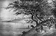 Travellers leaving a city via a tree-shaded road. Engraving from 'Le Caire et la haute egypte' (Cairo and Upper Egypt), Paris, 1872.