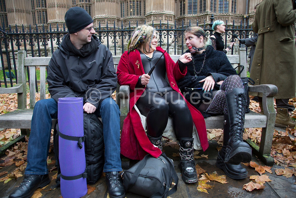 """London, UK. Friday 12th December 2014. Activists simulate sex acts in protest at new censorship laws. The organisers of the 'Sexual Freedom' demonstration claim British producers of online porn are being targeted by the new restrictions. This effectively bans the following acts from being depicted by British pornography producers: Spanking, caning, aggressive whipping, penetration by any object """"associated with violence"""", physical or verbal abuse (regardless of if consensual), urolagnia (known as """"water sports""""), role-playing as non-adults, physical restraint, humiliation, female ejaculation, strangulation, face-sitting, fisting. The final three listed fall under acts the BBFC views as potentially """"life-endangering"""". While the measures won't stop people from watching whatever genre of porn they desire, as video shot abroad can still be viewed."""