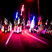 Drinving at night, on the streets of Boston, the blurry haze of drug or alcohol induced psycosis. The dream-like state of confusion when your blood alcohol level hits the point where vision streaks and trance begins.